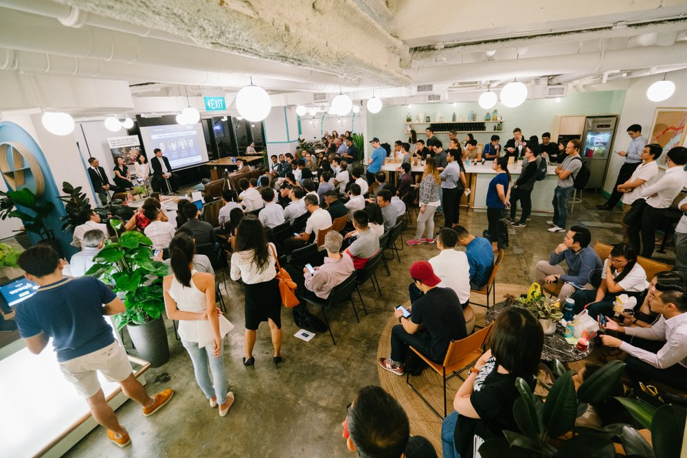 view of a corporate event at a coworking space